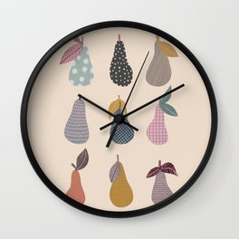 Patterned Pears Wall Clock