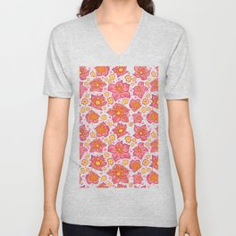 Pretty Pink And Yellow Floral Pattern Unisex V-Neck