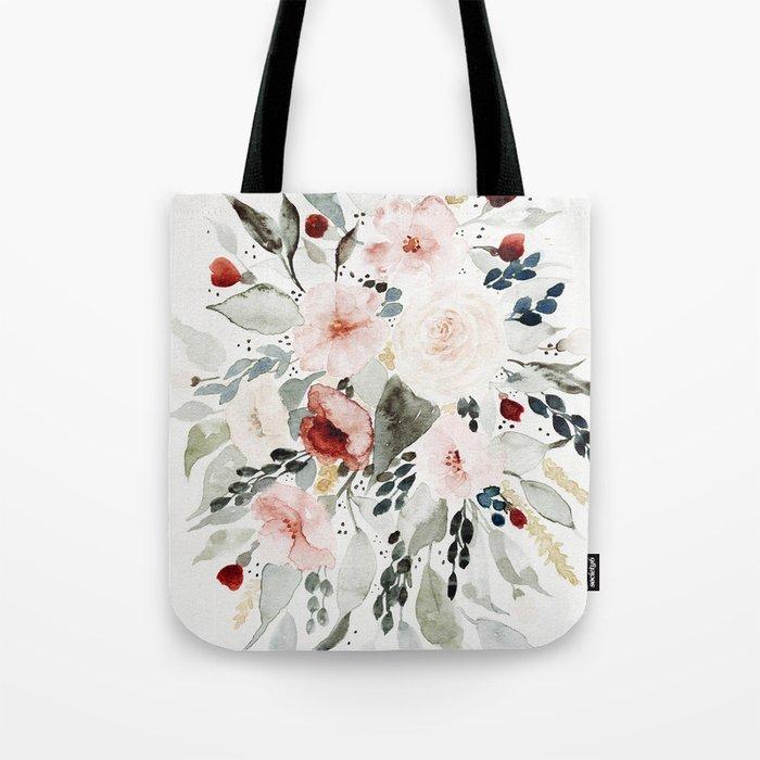 Loose Watercolor Bouquet Tote Bag