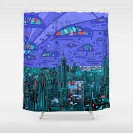 new york city panorama blue Shower Curtain