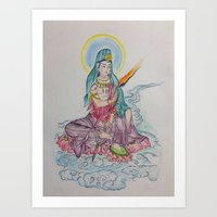 Sidhartha sitting on Lotus (water color) Art Print