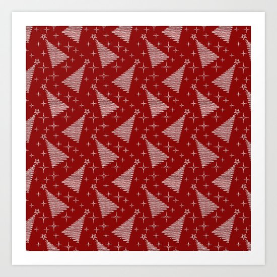 Merry Christmas- Abstract christmas tree pattern on festive red Art Print