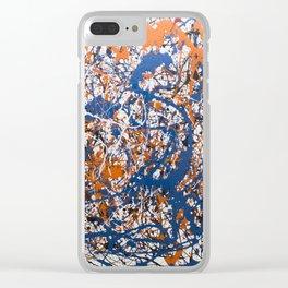 Orange,Blue, Flat black Action painting Clear iPhone Case