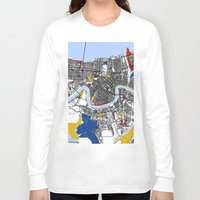 new orleans Long Sleeve T-shirts featuring New orleans Mondrian by Mondrian Maps