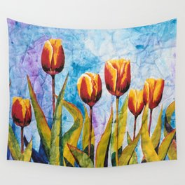 Watercolor Tulips on Wrinkled Paper Wall Tapestry