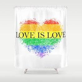 Love Is Love Rainbow Pride Heart 7 Minimalist Art Shower Curtain
