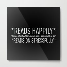 Reads Happily - Black Metal Print