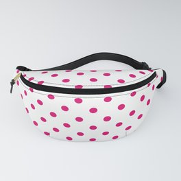 Large Dark Hot Pink Polka Dots on White Fanny Pack