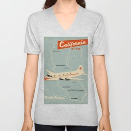 California 1950s vintage style travel poster Unisex V-Neck