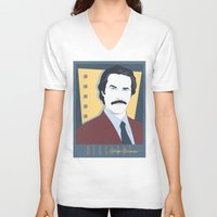 burgundy V-neck T-shirts featuring Burgundy by Arne AKA Ratscape