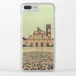 The stunning Piazza Ducale in Vigevano in autumn while raining Clear iPhone Case