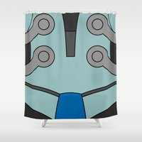 cassia beck Shower Curtains featuring Mighty No. 9 Beck Suit by Bunny Frost