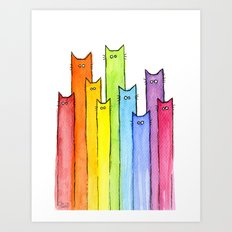 Rainbow of Cats Funny Whimsical Colorful Cat Animals Art Print