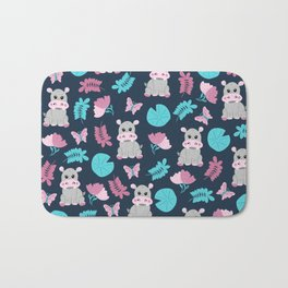 Cute Pink Teal Hippo Floral Butterfly Lily Pad Bath Mat