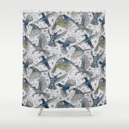 hum sun honey birds basalt Shower Curtain