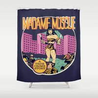 muscle Shower Curtains featuring Herstory: Madame Muscle by Mother Goosebumps