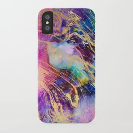 Modern gold marble on pastel pink purple watercolor nebula paint iPhone Case
