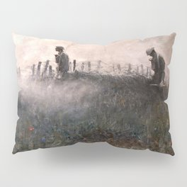 On the Wire War Landscape Painting by Harvey Thomas Dunn Pillow Sham