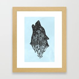 Adventure Wolf - Nature Mountains Wolves Howling Design Black on Turquoise Blue Framed Art Print