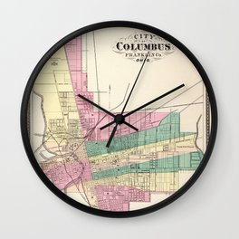 Map of Columbus 1872 Wall Clock