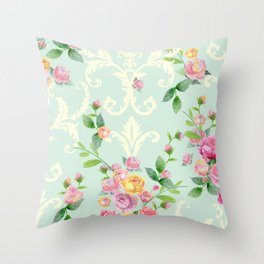 vintage pattern with english roses Throw Pillow