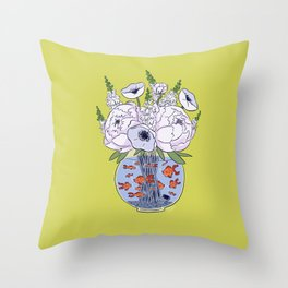 Goldfish Flowers Throw Pillow