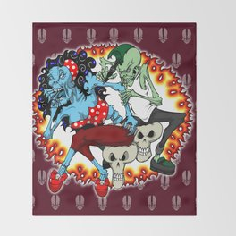 tattooing zombies Throw Blanket