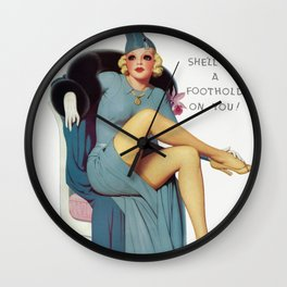She'll Get A Foothold On You - Vintage Pin Up Girl Art Wall Clock