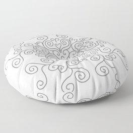 Gray Line Swirl Mandala Floor Pillow