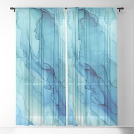 Emerald Sea Waves - Abstract Ombre Flowing Ink Sheer Curtain