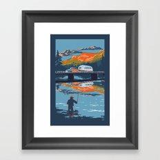 Retro Airstream Travel poster Framed Art Print