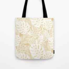 Tropical Shadows - Beige / White Tote Bag