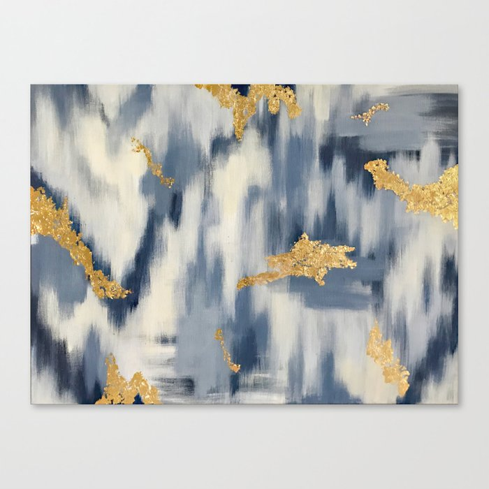 Blue and Gold Ikat Pattern Abstract Leinwanddruck