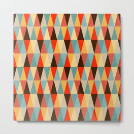 Red & Brown Geometric Triangle Pattern Metal Print