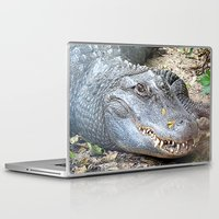 crocodile Laptop & iPad Skins featuring Crocodile by Laura Grove