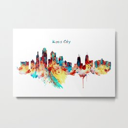 Kansas City Skyline Silhouette Metal Print