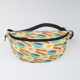 Coffee, Bacon & Eggs Pattern - Yellow Check Fanny Pack