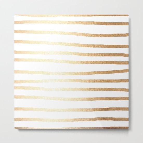Simply Drawn Stripes Golden Copper Sun Metal Print