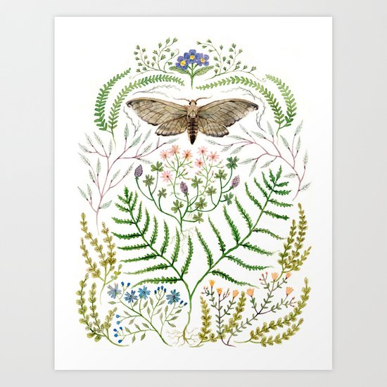 Moth with Plants II Art Print