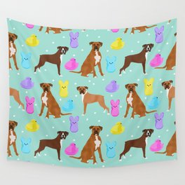 Boxer dog breed marshmallow peeps easter spring traditions cute dog breed gifts boxers Wall Tapestry