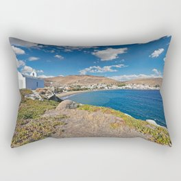 Korissia, which is a natural harbor welcomes you to the island of Kea, Greece Rectangular Pillow