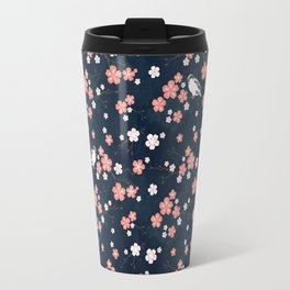 Navy blue cherry blossom finch Travel Mug