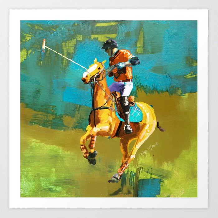 poloplayer abstract turquoise ochre Art Print