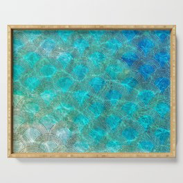 Sea Ocean Waves effect- Gold and Aqua Scales Pattern Serving Tray