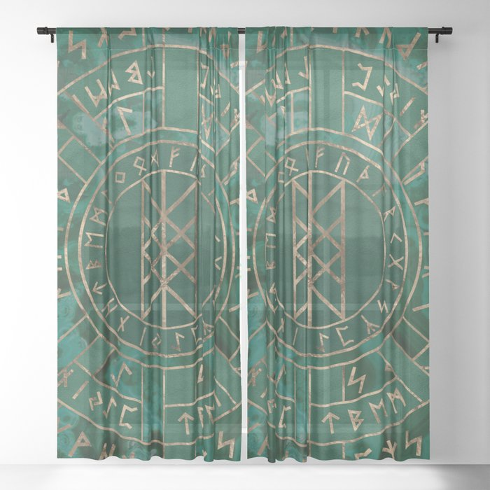 d721aa3ad092f Web of Wyrd - Malachite, Leather and Golden texture Sheer Curtain by  k9printart