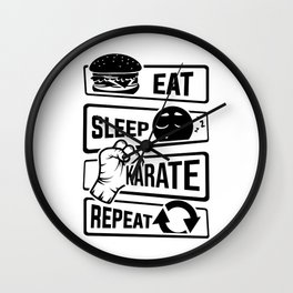Eat Sleep Karate Repeat - Martial Arts Defence Wall Clock