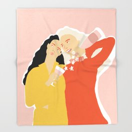 Best Friends and Wine Throw Blanket