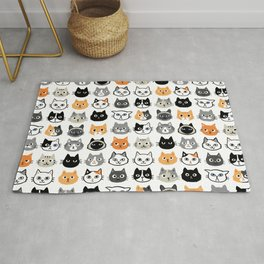 Cute Cats | Assorted Kitty Cat Faces | Fun Feline Drawings Rug