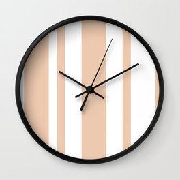 Mixed Vertical Stripes - White and Desert Sand Orange Wall Clock
