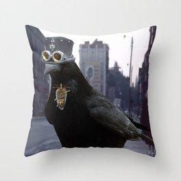 Steampunk Raven Throw Pillow